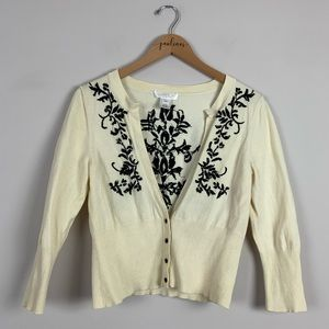 White House Black Market Embroidered Silk Sweater